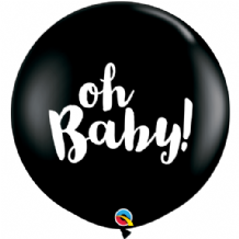 Gender Reveal Balloons - Oh Baby! Black 3ft Balloons 1pc